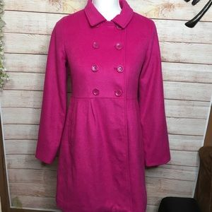 Gap Kids hot pink wool blend pea coat size XXL R